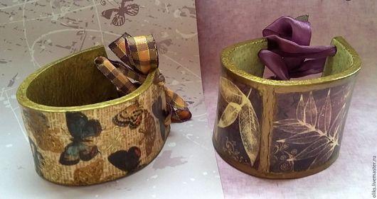 Браслеты ручной работы. Ярмарка Мастеров - ручная работа. Купить Кожаные браслеты  Бабочки и Фиолет. Handmade. Кожа натуральная, Декупаж