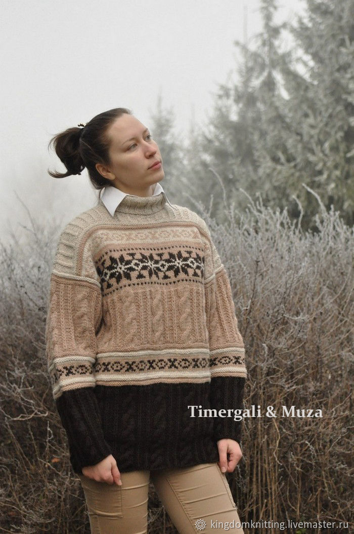 It's gorgeous sweater with Scandinavian patterns! It is warm, loose and stylish. The sweater in Scandinavian style is practical, comfortable and always fashionable.