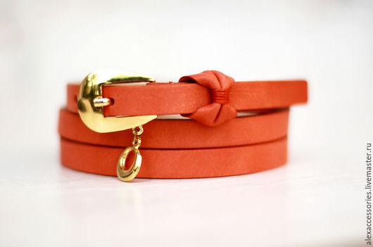 Пояса, ремни ручной работы. Ярмарка Мастеров - ручная работа. Купить Оранжевый ремень, женский кожаный ремень, оранжевый пояс, кожаный пояс. Handmade.