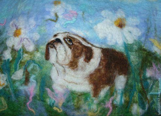 """Животные ручной работы. Ярмарка Мастеров - ручная работа. Купить картина из  шерсти """"Английский бульдог"""". Handmade. Картина, картина из шерсти"""