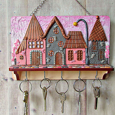 For home and interior handmade. Livemaster - original item The housekeeper of the Pink city.The housekeeper wall. decor polymer clay.. Handmade.