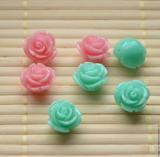 Для украшений ручной работы. Ярмарка Мастеров - ручная работа. Купить Резная роза 15 мм. Handmade. Мятный, тиффани