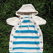 Работы для детей, ручной работы. Ярмарка Мастеров - ручная работа Вязаный конверт для новорожденного Морской бриз. Handmade.