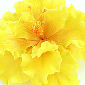 Украшения ручной работы. Ярмарка Мастеров - ручная работа Цветок желтого гибискуса. Handmade.