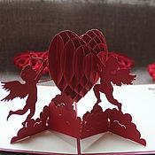 Открытки ручной работы. Ярмарка Мастеров - ручная работа Открытка 3D купидоны. Handmade.