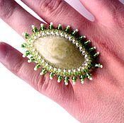Украшения ручной работы. Ярмарка Мастеров - ручная работа Вышитое бисером кольцо с натуральным ониксом. Handmade.