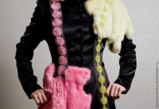 Верхняя одежда ручной работы. Ярмарка Мастеров - ручная работа. Купить пальто розовое с зеленым. Handmade. Абстрактный, зеленый мех