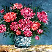 Картины и панно handmade. Livemaster - original item Painting palette knife oil on Pink peonies. Handmade.