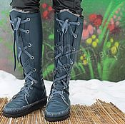 Обувь ручной работы handmade. Livemaster - original item Winter Boots Boots lace up leather Fur sheepskin Blue. Handmade.