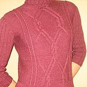 Одежда ручной работы. Ярмарка Мастеров - ручная работа платье с аранами винного цвета. Handmade.