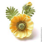 Украшения ручной работы. Ярмарка Мастеров - ручная работа вязаная брошь-цветок Желтый мак 2. желтые цветы. желтый зеленый. Handmade.