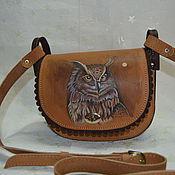 Сумки и аксессуары ручной работы. Ярмарка Мастеров - ручная работа сумка кожаная с рисунком совы. Handmade.
