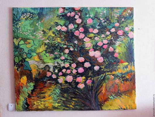 """Картины цветов ручной работы. Ярмарка Мастеров - ручная работа. Купить Картина маслом """"Розовый куст"""". Handmade. Ван гог"""