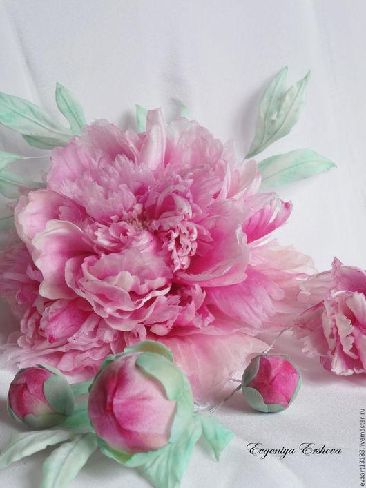 """Цветы ручной работы. Ярмарка Мастеров - ручная работа. Купить Пионы Шелк """"Luxury Pink"""". Handmade. Комбинированный, украшение для волос"""