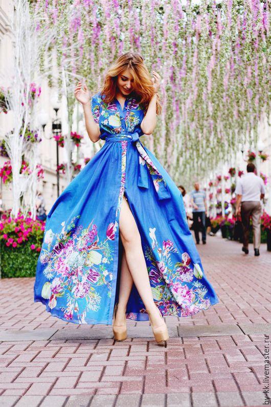 Платья ручной работы. Ярмарка Мастеров - ручная работа. Купить Хлопковое платье в пол. Handmade. Вечернее платье, платье летнее