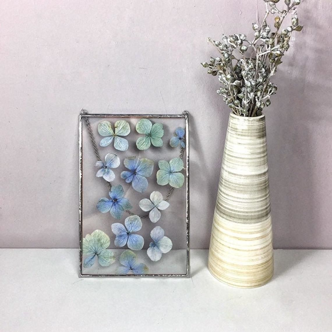 Herbarium in glass ' Blue hydrangea', Stained glass, Moscow,  Фото №1