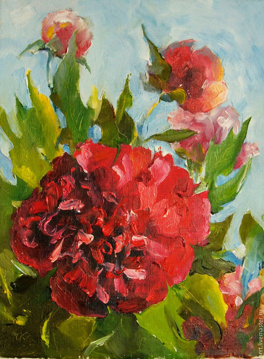 Картины цветов ручной работы. Ярмарка Мастеров - ручная работа. Купить Пион красный Картина маслом 18х24 см. Handmade.