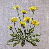 """Картины ручной работы. Ярмарка Мастеров - ручная работа Вышитая гладью картина """"Жёлтые одуванчики"""". Handmade."""