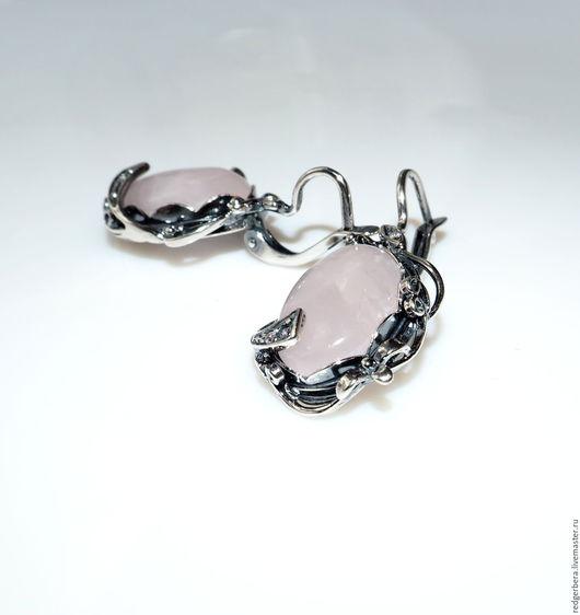"""Серьги ручной работы. Ярмарка Мастеров - ручная работа. Купить Серьги """"Noktali"""" розовый кварц, серебро 925 пробы. Handmade."""