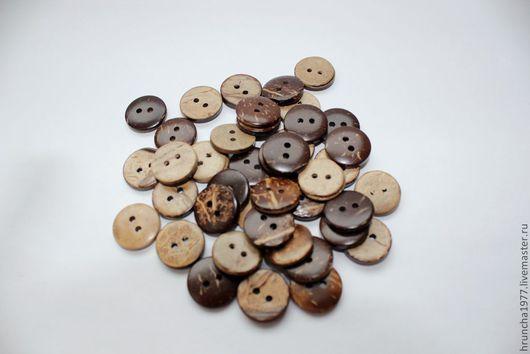 Шитье ручной работы. Ярмарка Мастеров - ручная работа. Купить кокосовые круглые пуговицы. Handmade. Коричневый, пуговицы для игрушек