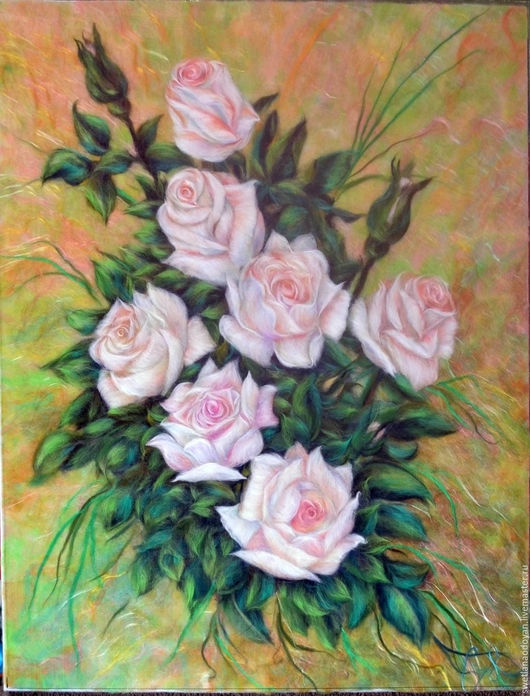 Картины цветов ручной работы. Ярмарка Мастеров - ручная работа. Купить Картина из шерсти  Перламутровые розы. Handmade. Комбинированный