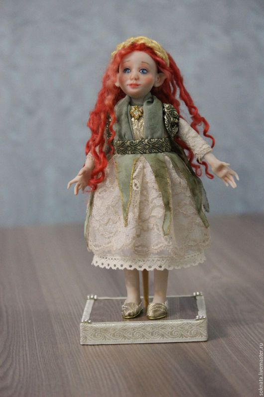 Коллекционные куклы ручной работы. Ярмарка Мастеров - ручная работа. Купить Кукла из полимерной глины Эльфийка. Handmade. Оливковый, эльфийка