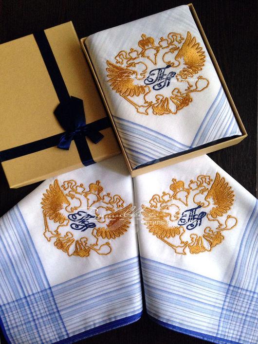платок мужской носовой аксессуар с вышивкой хлопок подарок герб двуглавый орел герб