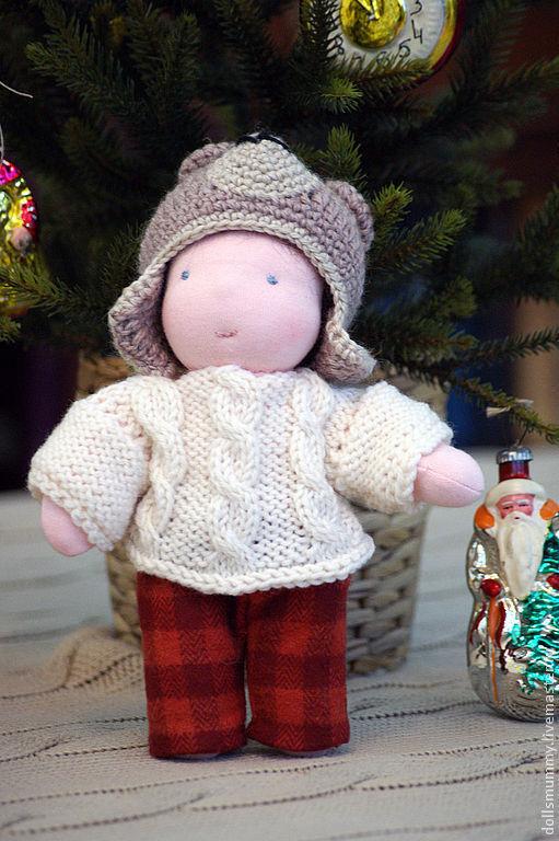 Вальдорфская игрушка ручной работы. Ярмарка Мастеров - ручная работа. Купить Кукла-мальчик в новогоднем костюме Медведя. Handmade. Бежевый