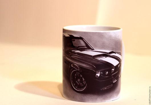 Кухня ручной работы. Ярмарка Мастеров - ручная работа. Купить Кружка Ford Mustang. Handmade. Серый, керамика
