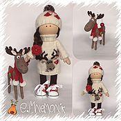 Куклы и игрушки ручной работы. Ярмарка Мастеров - ручная работа Куколка Рита и оленёнок Клаус. Handmade.