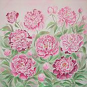Картины и панно ручной работы. Ярмарка Мастеров - ручная работа Картина на шелке Розовые пионы, картина в спальню, в интерьер. Handmade.