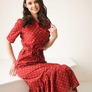 Одежда ручной работы. Ярмарка Мастеров - ручная работа Бордовое летнее платье в пол из хлопка, в цветы. Handmade.