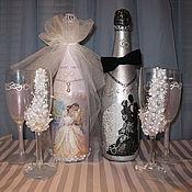 Сувениры и подарки ручной работы. Ярмарка Мастеров - ручная работа свадебное шампанское. Handmade.
