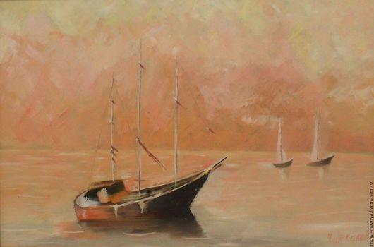 Пейзаж ручной работы. Ярмарка Мастеров - ручная работа. Купить Карамельная гавань. Handmade. Море, рассвет, оранжевый, мастихин