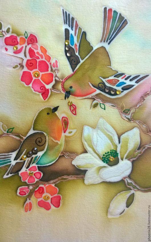 """Животные ручной работы. Ярмарка Мастеров - ручная работа. Купить Батик """"Райские птички"""", картина на шёлке. Handmade. Батик"""