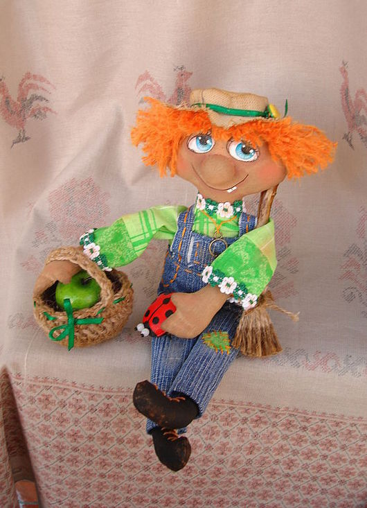 Сказочные персонажи ручной работы. Ярмарка Мастеров - ручная работа. Купить Домовой -Рыжий садовёнок - интерьерная кукла. Handmade. Кукла