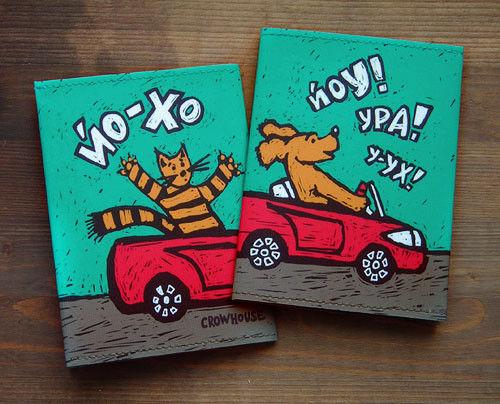 Covers handmade. Livemaster - handmade. Buy Cover for avtodokumentov 'Convertible'.Dark turquoise, motorist, dog