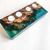 Для дома и интерьера handmade. Livemaster - original item Decorative candle holder made of solid Karagach and epoxy resin. Handmade.