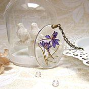 Украшения handmade. Livemaster - original item Transparent Pendant with Purple Flower Botany Eco. Handmade.