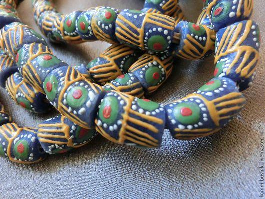 Африканские Кробо бусины из Ганы сине-желто-зеленые с рисунком. Африканские бусины для колье, африканские стеклянные бусины для браслетов, этнические бусины для серег.