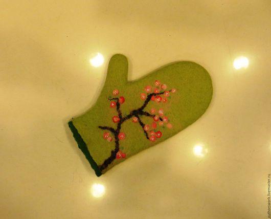 Банные принадлежности ручной работы. Ярмарка Мастеров - ручная работа. Купить Валеная шерстяная рукавица для бани. Handmade. Зеленый