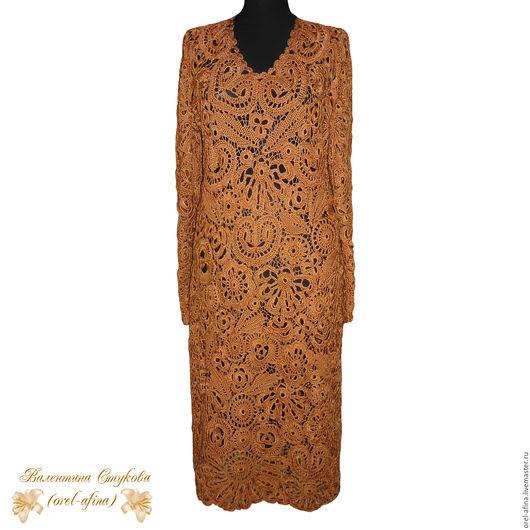 Платья ручной работы. Ярмарка Мастеров - ручная работа. Купить Вязаное платье Вечер 2. Handmade. Коричневый, вязаное платье
