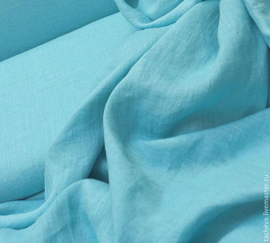 Шитье ручной работы. Ярмарка Мастеров - ручная работа. Купить Ткань льняная-блузочная- оттенки бирюзы. Handmade. Голубой