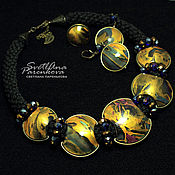Jewelry Sets handmade. Livemaster - original item kit 2 in 1 polymer clay Golden (413). Handmade.