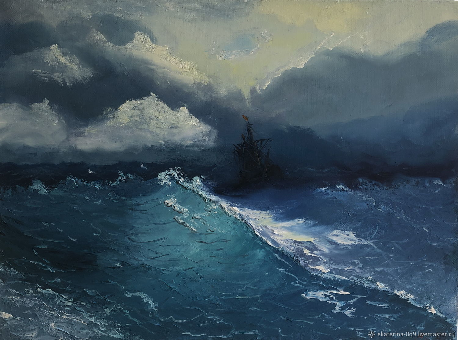 oil painting storm, Pictures, Moscow,  Фото №1