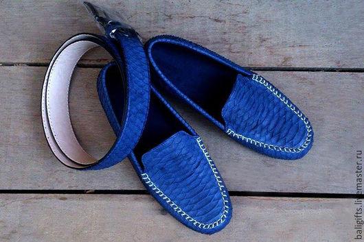 Мужские макасины из натуральной кожи питона синего цвета