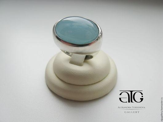 Сделаю на заказ. Стильное крупное кольцо с кабошоном аквамарина 13.31 Carat!