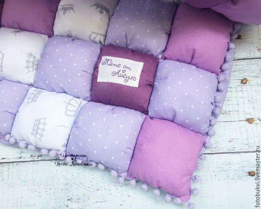 Пледы и одеяла ручной работы. Ярмарка Мастеров - ручная работа. Купить Детское пуф одеяло.. Handmade. Комбинированный, помпоны, подарок