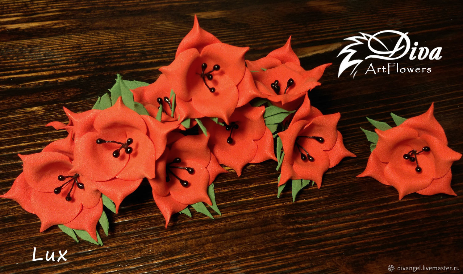 Poppy color. Artificial flowers from Tamarana with black stamens ...