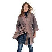 Одежда ручной работы. Ярмарка Мастеров - ручная работа Пальто плащ вязаное стеганое утепленное двойное трансформер. Handmade.